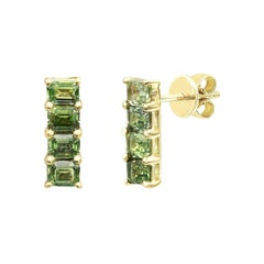 Impressive Green Sapphire Diamond Yellow Gold Earrings