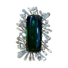 Impressive Green Tourmaline & Diamond Brooch