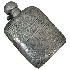 Impressive Heavy Solid Silver Japanese Made Hipflask