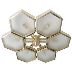 Impressive Italian Flush Mount w/ Honeycomb Style Design, 21st Century