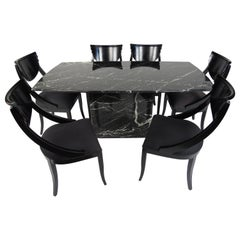 Impressive Italian Midcentury Dining Set with Marble-Top Table