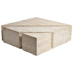 Impressive Italian Travertine Marble Three-Part Polygon Coffee Table