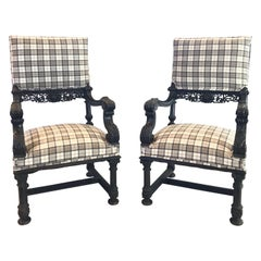 Impressive Jaunty Pair of Plaid Intricately Carved Ebonized Lions Head Chairs