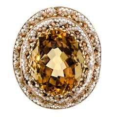 Impressive Large 14 Karat Yellow Gold, Citrine and Seed Pearl Pendant/Brooch