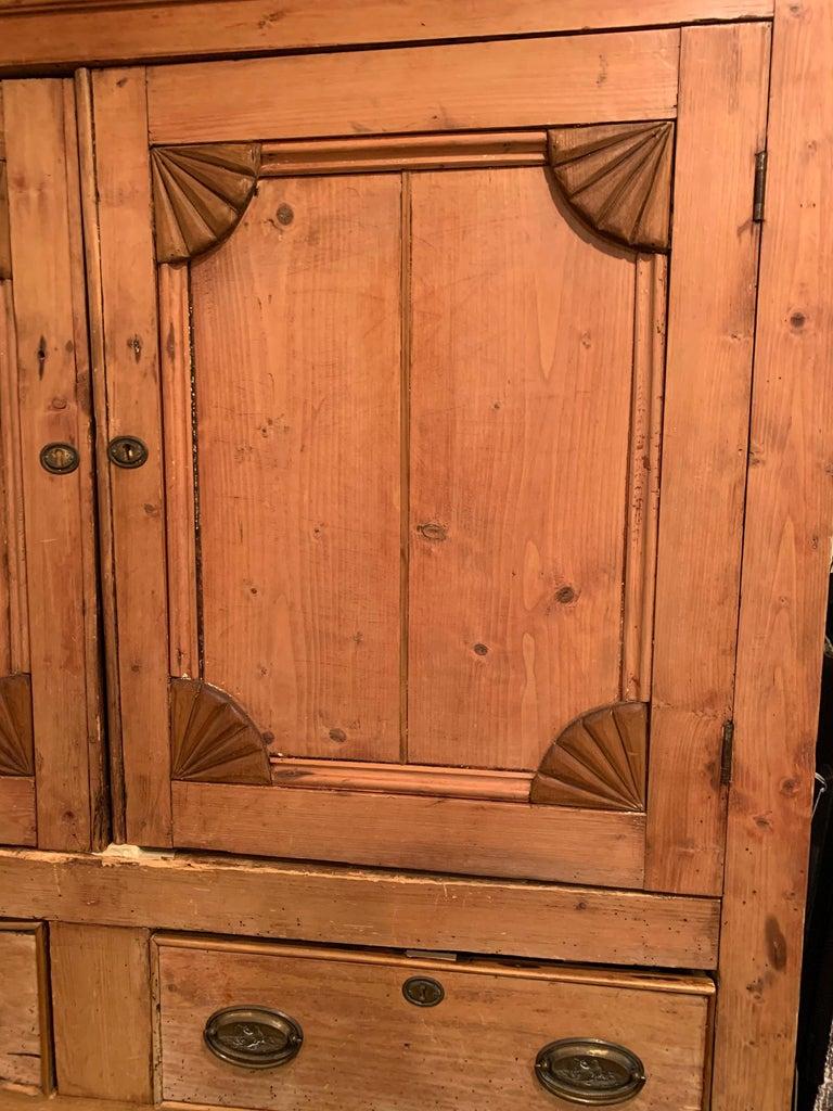 Impressive Large 19th Century Rustic Irish Pine Cabinet For Sale 11