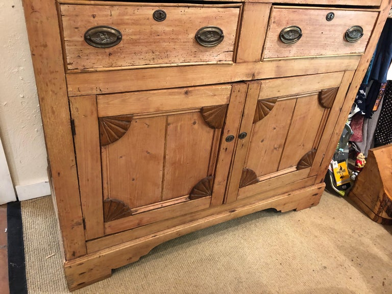 Impressive Large 19th Century Rustic Irish Pine Cabinet In Good Condition For Sale In Hopewell, NJ