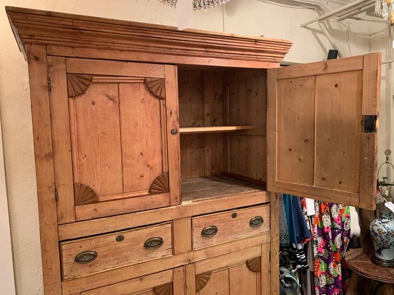 Impressive Large 19th Century Rustic Irish Pine Cabinet For Sale 1