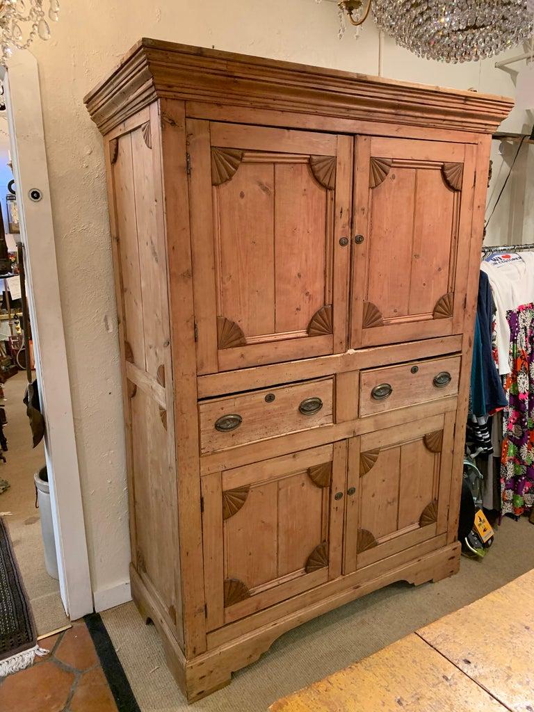 Impressive Large 19th Century Rustic Irish Pine Cabinet For Sale