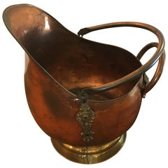 Impressive Large Copper and Brass Coal Scuttle Fireplace Kindling Bucket