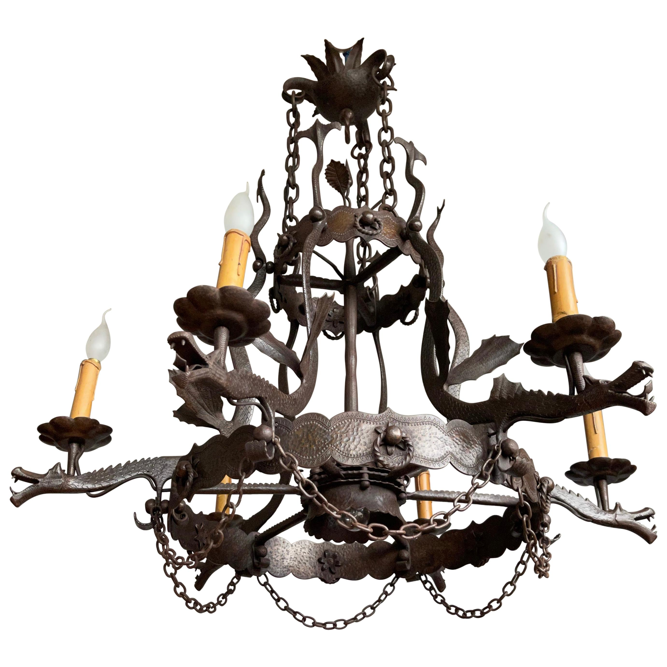 Impressive Large Forged Wrought Iron Seven-Light Chandelier w Dragon Sculptures