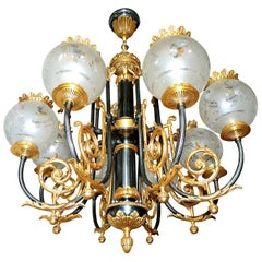 Impressive Large French Empire Patinated & Gilt Bronze 8 Etched Globe Chandelier