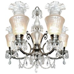 Impressive Large French Regency Empire Cut Crystal Chrome Chandelier