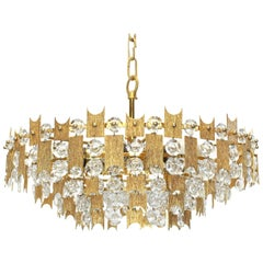 1 of 2 Impressive Large Gilt Brass and Crystal Chandelier- Palwa -Germany, 1960s