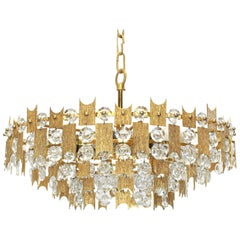 Impressive Large Gilt Brass and Crystal Glass Chandelier by Palwa Germany, 1960s