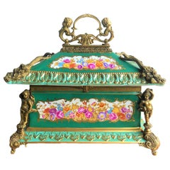 Bronze Gilt Green Panelled Floral Large Jewellery Casket in the Manner of Sevres