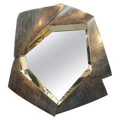 Impressive Large One of a Kind Brass Mirror, France