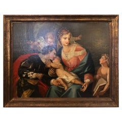 Impressive Large Original Oil on Canvas of Madonna and Child with Patrons
