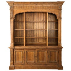 Impressive Large Pine Ethan Allen Library Bookcase Cabinet