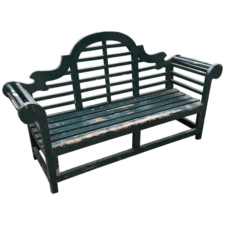 Impressive Large Solid English Edwardian Lutyens Style Bench in Teak For Sale