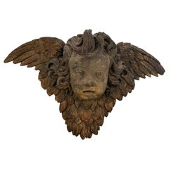 Impressive Large Terracotta Carved Wall Sculpture of Cherub's Face