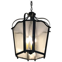 Impressive Large Wrought Iron and Vintage Glass Lantern