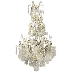 Impressive Late 19th Century Gilt Bronze and Baccarat Crystal Chandelier