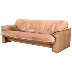 Impressive Leolux Three-Seat Buffalo Leather Sofa