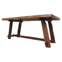 Impressive Live Edge Pecan Trestle Dining Table