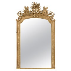 Impressive Louis XVI Style Carved Giltwood and Gesso Mirror, French, circa 1890