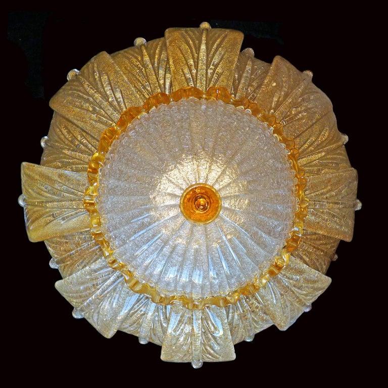 Impressive Luxury Barovier & Toso Gold Leaf Chandelier Venini Murano Amber Glass For Sale 2