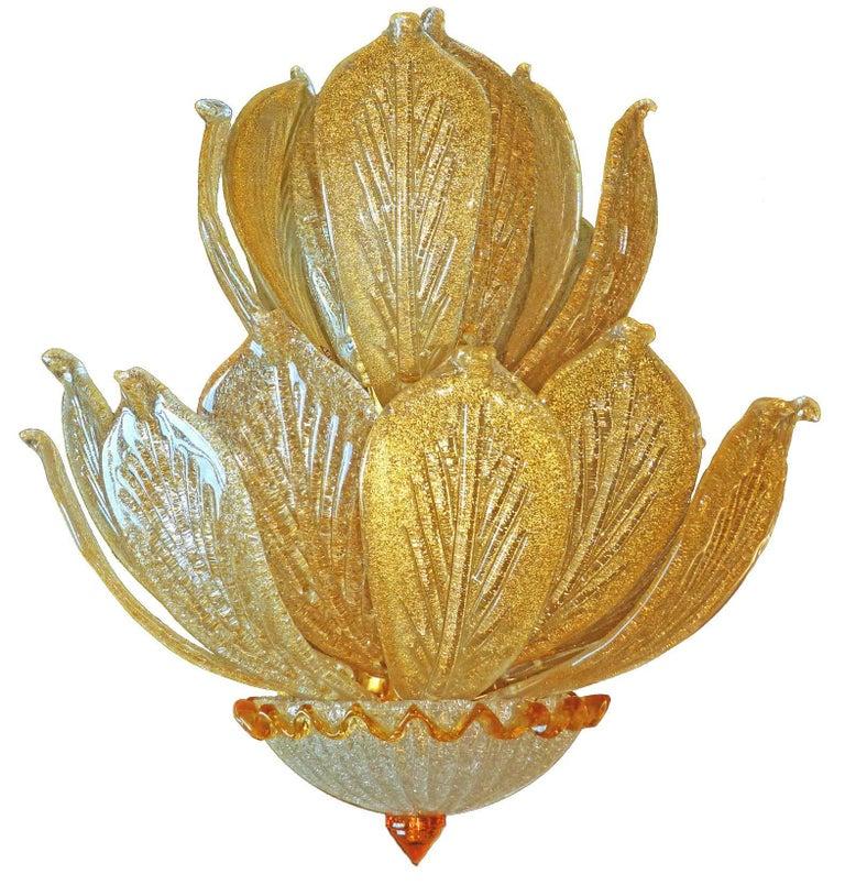 Hollywood Regency Impressive Luxury Barovier & Toso Gold Leaf Chandelier Venini Murano Amber Glass For Sale