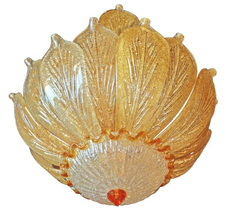 Italian Impressive Luxury Barovier & Toso Gold Leaf Chandelier Venini Murano Amber Glass For Sale