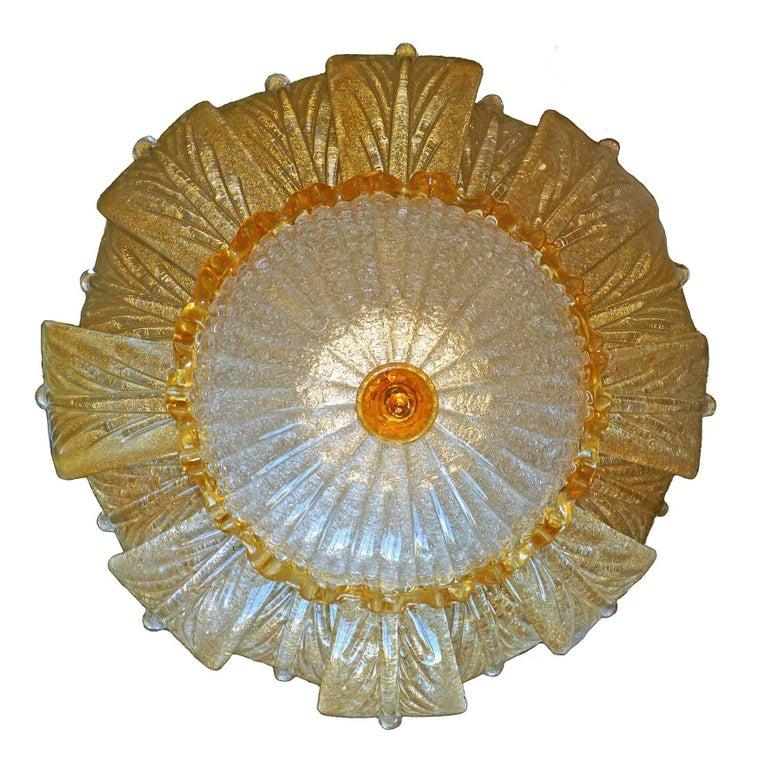 Gilt Impressive Luxury Barovier & Toso Gold Leaf Chandelier Venini Murano Amber Glass For Sale