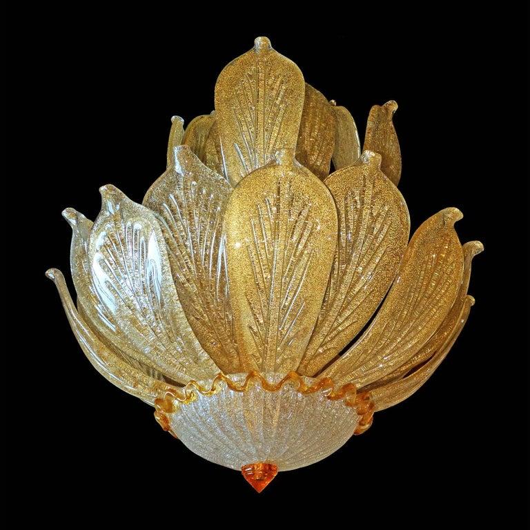 20th Century Impressive Luxury Barovier & Toso Gold Leaf Chandelier Venini Murano Amber Glass For Sale