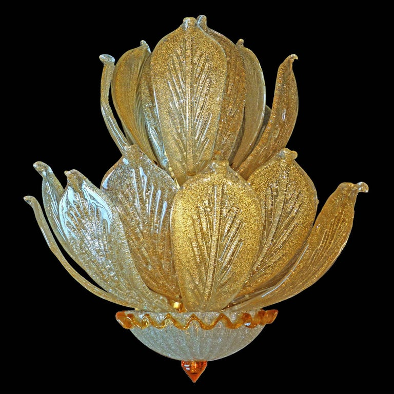 Crystal Impressive Luxury Barovier & Toso Gold Leaf Chandelier Venini Murano Amber Glass For Sale