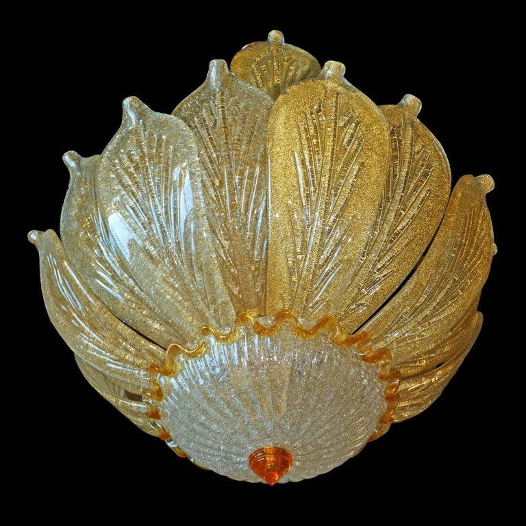 Impressive Luxury Barovier & Toso Gold Leaf Chandelier Venini Murano Amber Glass For Sale 1