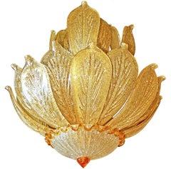 Impressive Luxury Barovier & Toso Gold Leaf Chandelier Venini Murano Amber Glass
