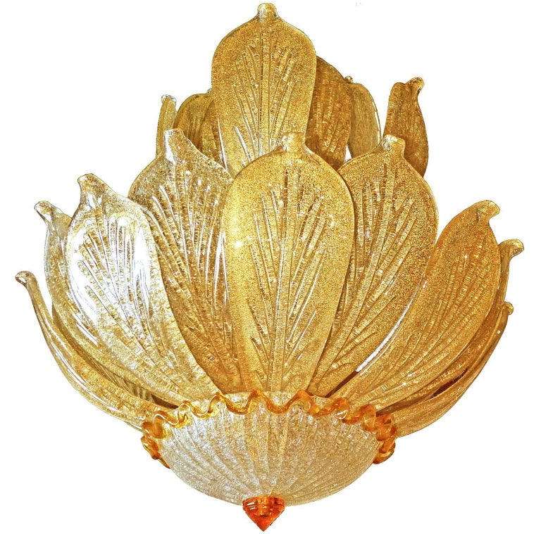 Impressive Luxury Barovier & Toso Gold Leaf Chandelier Venini Murano Amber Glass For Sale