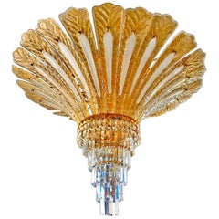 Impressive Luxury Barovier & Toso Gold Palm Tree Murano Amber Crystal Chandelier