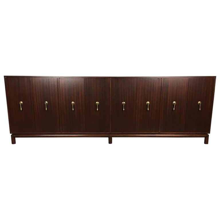 Impressive Mahogany Buffet Credenza after Maurice Bailey For Sale
