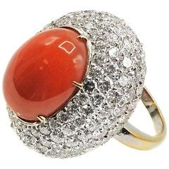 Impressive Mediterranean Coral Diamond 18 Karat Gold Ring