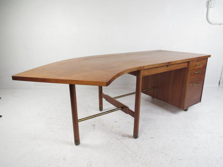 American Impressive Midcentury Curved Top Desk by