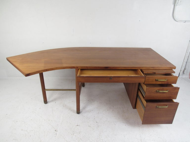 Mid-20th Century Impressive Midcentury Curved Top Desk by