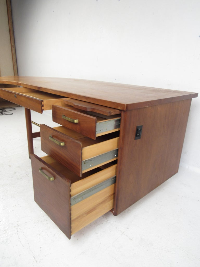 Brass Impressive Midcentury Curved Top Desk by