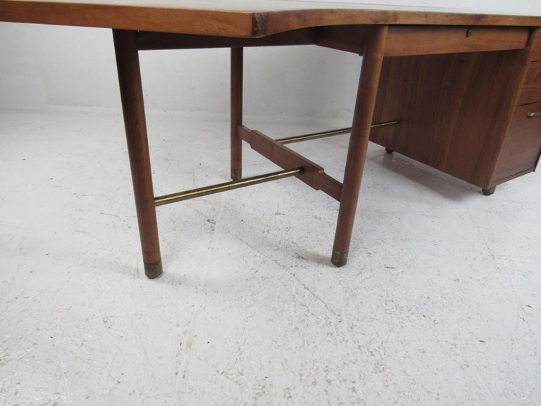 Impressive Midcentury Curved Top Desk by