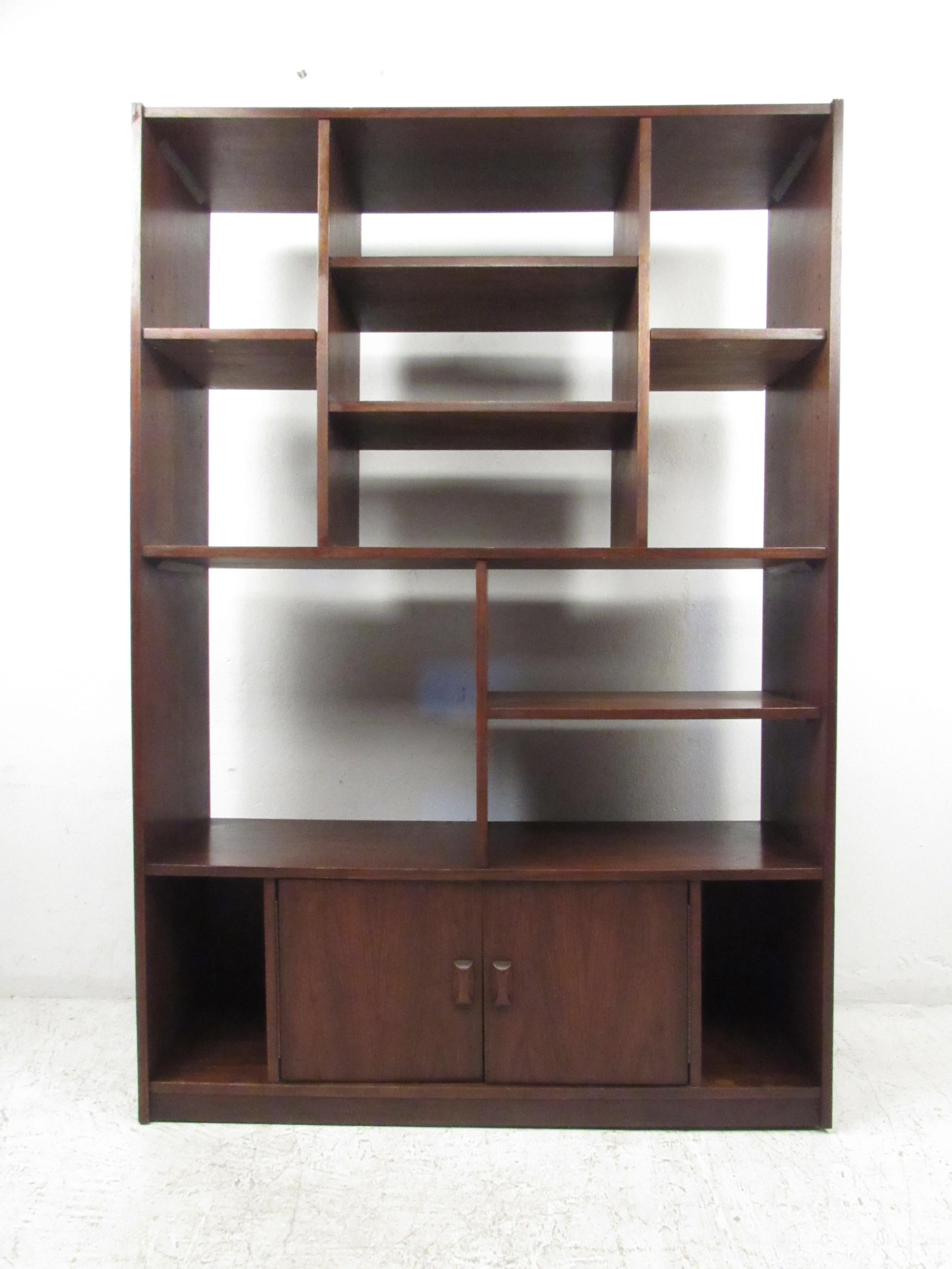 Impressive Midcentury Walnut Bookcase Or Room Divider