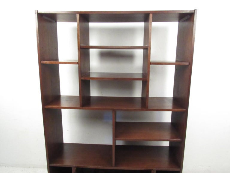 Late 20th Century Impressive Midcentury Walnut Bookcase or Room Divider For Sale