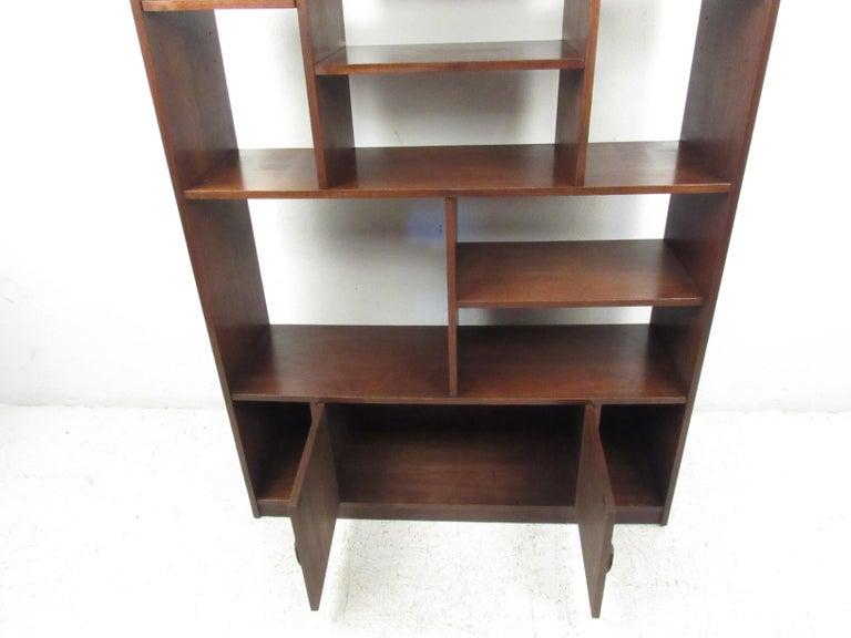 Impressive Midcentury Walnut Bookcase or Room Divider For Sale 1