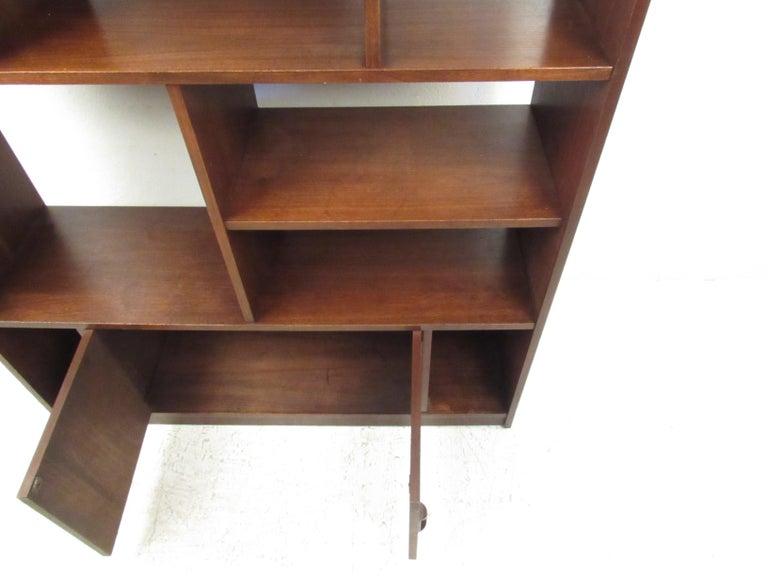 Impressive Midcentury Walnut Bookcase or Room Divider For Sale 2