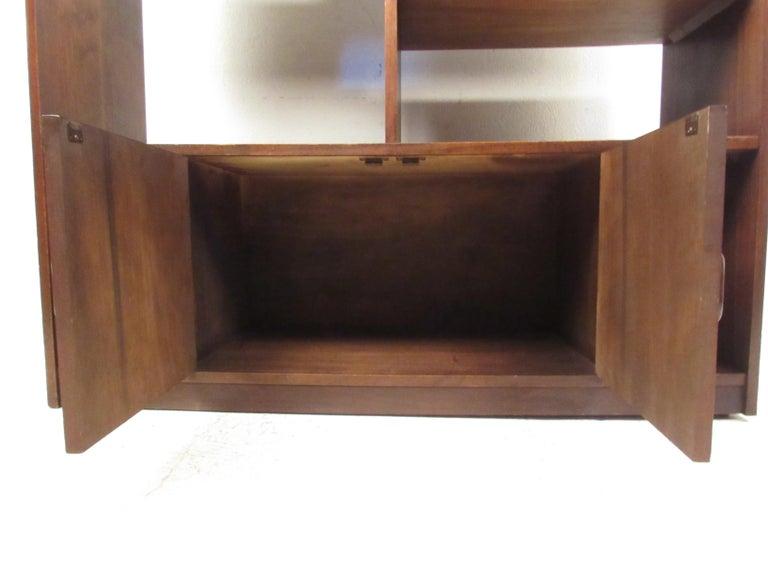 Impressive Midcentury Walnut Bookcase or Room Divider For Sale 3